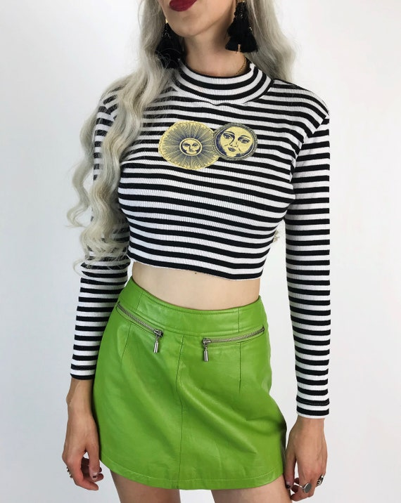 90's Mock Neck Sun/Moon Patch Crop Top S/M - Upcycled Glittery Moon Long Sleeve Ribbed Top - Unique Black & White Trendy Long Sleeve Crop