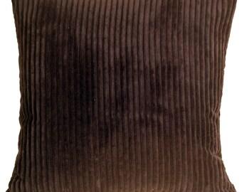 Wide Wale Corduroy 18x18 Dark Brown Throw Pillow