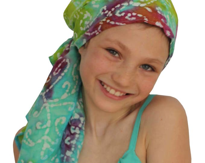 Featured listing image: Ava Joy Children's Pre-Tied Head Scarf, Girl's Cancer Headwear, Chemo Head Cover, Alopecia Hat, Head Wrap, Cancer Gift for Hair Loss, Bursts