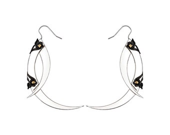 THISTLE THORN / Small Silver Drop Earrings / Free Shipping