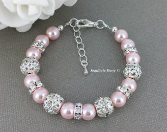 Bridesmaid Gift Swarovski Pearl Bracelet Pink Bracelet Bridesmaid Bracelet Bridesmaid Jewelry Gift Idea Blush Wedding