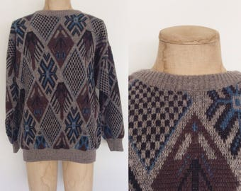 1980's Men's Pullover Knit Sweater Geo Print Size Large XL by Maeberry Vintage