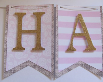 Pink and Gold Birthday Banner, Happy Birthday Banner, Pink, gold, burlap cardstock