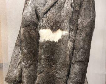 Rabbit fur coat woman size large .