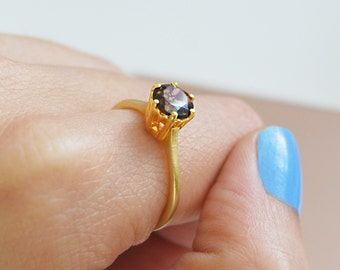 Smokey Quartz Solitaire Ring, Gold Ring, Quartz Ring, Smoky Quartz, Smokey Quartz Gemstone, Smokey Quartz Ring, Unique Engagement Ring, Gold