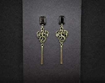Dragon Earrings Hematite Swarovski Antiqued Bronze Posts FREE SHIPPING USA