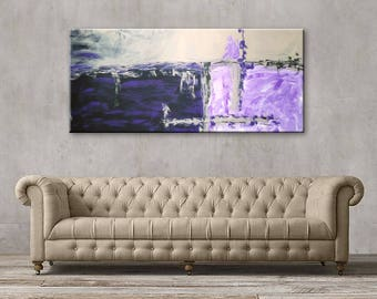 "72x32"" Original Abstract Acrylic Painting Extra Large Purple Violet Gray Black Green Wall Art Modern Art Decor"
