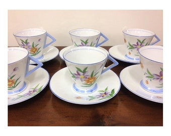 Vintage Art Deco Kenley Porcelain Japan Duos Shabby Chic High Tea Floral Cups and Saucers x 6