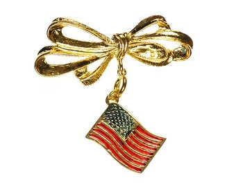 Vintage American Flag Brooch with Gold Tone Ribbon Bow Pin