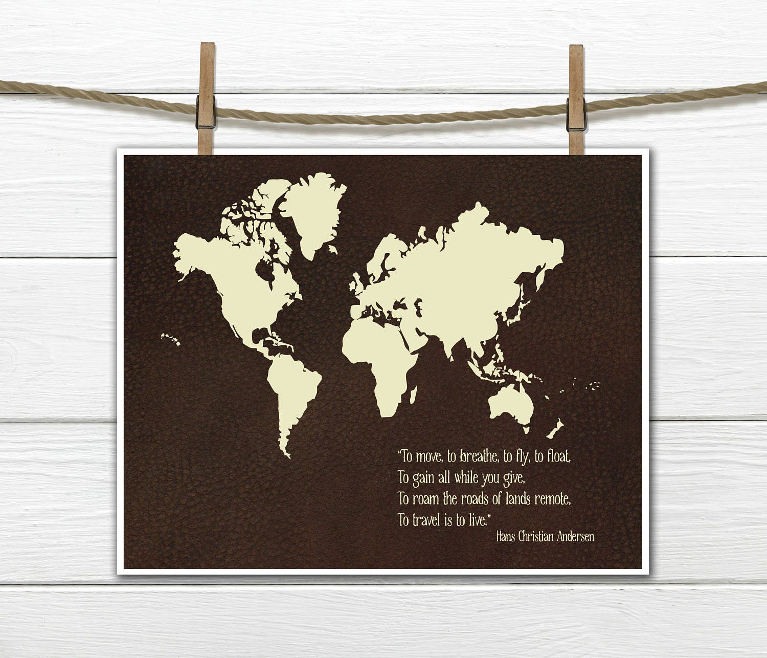 World map print faux leather background to travel is to live hans world map print faux leather background to travel is to live hans christian andersen quote gumiabroncs Image collections