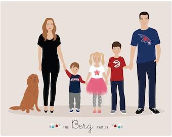 Custom Family Portrait, Mothers Day portrait
