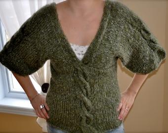 Knit green sweater, women sweater, wool sweater, cable knit sweater