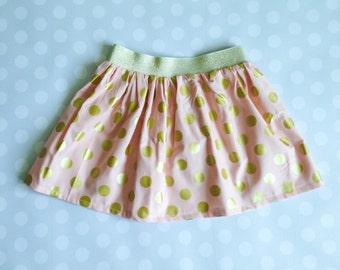 Size 3 Ready to Ship, Peach Blush and Gold Polka Dot Skirt