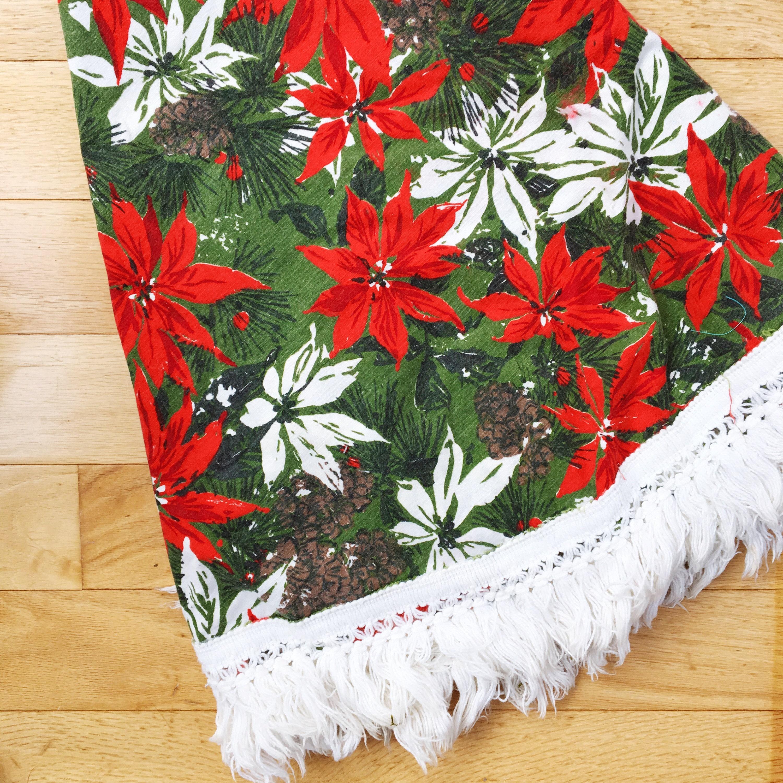Vintage Christmas Table Cloth Mid Century Modern Christmas