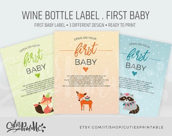 Wine bottle label printable • Wine Label First Baby • Instant download • DIY wine label • printable