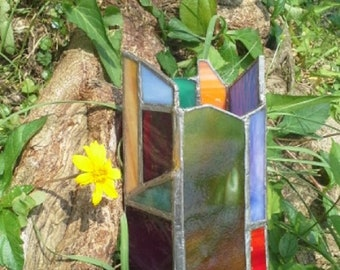 Pentagon Pen Holder ~ Stained Glass