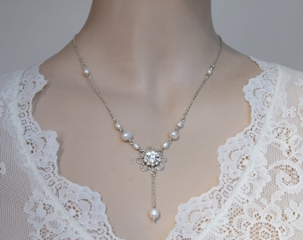 Bride Necklace 1920's Necklace Vintage Bridal Pearl Crystals flower Rhinestone Victorian Necklace Bridal Pearl Necklace Freshwater pearls