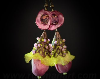 Vintage look Pink silk, Green Yellow-pink earrings, Art Nuvo, victorian, shabby chic, boho.