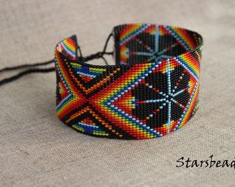 Beautiful Mexican Choker Necklace, Huichol Necklace, Ethnic Necklace, Choker, Seed Bead Necklace