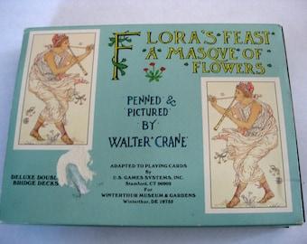 Vintage Walter Crane jouer aux cartes avec Flora fête A Masque de fleurs, Double Deck dans boîte d'origine, complet