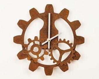 Rusty Gear Wall Clock -  Steampunk Industrial