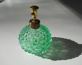 Irice Hobnail Perfume Bottle - Green with Atomizer