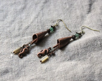 Earrings dangling • mother of Pearl • Aventurine • Apatite jewelry copper jewelry Bohemian seahorse forged • • • • •