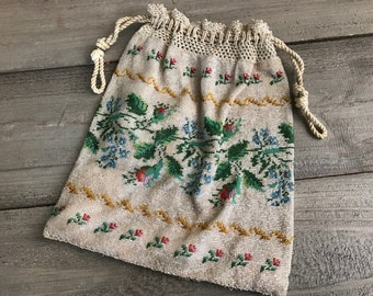 Antique Glass Micro Beaded Purse, Rose Buds, Floral Drawstring Handbag