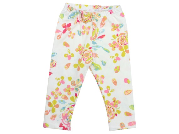 Rose Floral Baby Leggings Pink Floral Toddler Leggings Girly Leggings Pink Blue Green Floral Leggings Girl Baby Pants Baby Floral Leggings