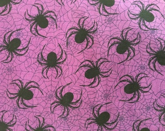 Halloween fabric by the yard - spider fabric - spider web fabric - purple fabric - #17167