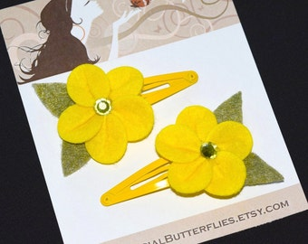 Tropical Yellow Felt Flowers Snap Clips - Buy 3 Items, Get 1 Free