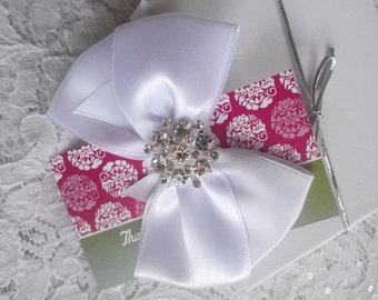 White Satin Hair Bow with Rhinestone Center, Sparkle Flower Girl Hair Bow, Hair Bow, Christmas Hair Bow, White Satin Pageant Hair bows