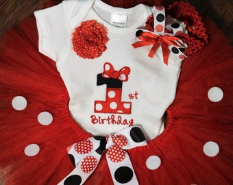 Minnie Mouse, girl 1st birthday, girls first birthday, girl first birthday, Disney, polka dot, baby girl clothes, red, bodysuit, baby tutu