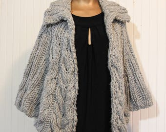 Hand Knit Shrug Capelet, Wrap with sleeves