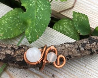 Tourmaline quartz & rose quartz copper ring