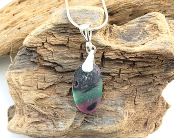 Pink and green seaglass necklace