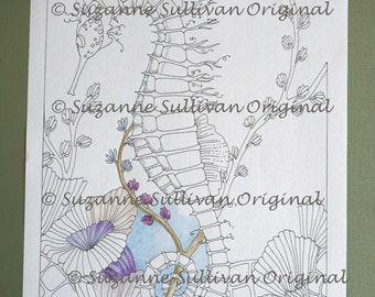 Sea Horse Coloring Page, Seahorse Coloring page, Adult Coloring Page, Ocean Fish coloring page, Tropical Coloring Page, Printable Download