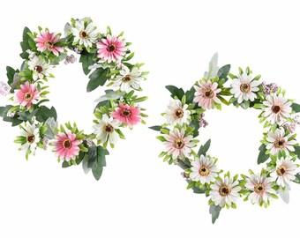 Spring Wreath Gerberas Flowers Berries Leaves Artificial Ornament