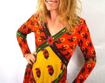 Vintage 70s Hippie Summer Maxi Funky Dress