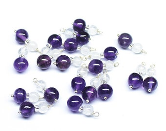 20 Quartz Amethyst 925 Sterling Silver Wire Wrap Connector Earring Finding 12mm - Jewelry Making