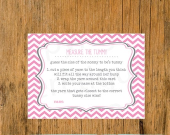 INSTANT UPLOAD  Baby Shower Game Pink, Measure the Mommy's Tummy, Pink Baby Shower Game, Girl Baby Shower Game, Tummy Baby Shower Game Pink