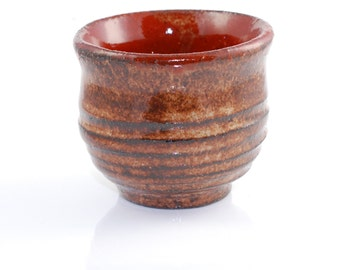Tiny Sake Cup or Shot Glass Orange Rust Tiny Tea Bowl
