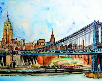 New York City, Manhattan Bridge, Original  Watercolor