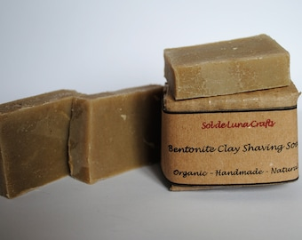 Natural Shaving Soap with Bentonite Clay - Organic & Vegan Soap - Unscented - Cold Process Soap - NO SLS - Palm Free