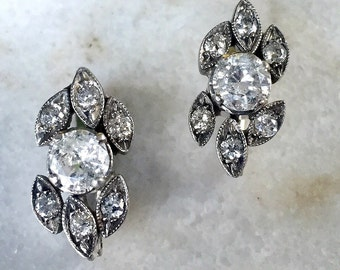 RESERVED for Hope Beautiful Vintage Antique 14 K White Gold Round Diamond Flower Leaf Earrings 1.9 ctw