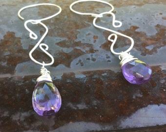 Faceted Amethyst Briolette Dangle Earrings. Purple gemstone earrings.   Purple amethyst dangles