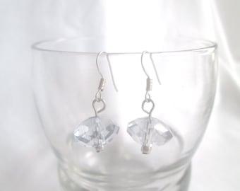 Earrings, Clear Glass Light Blue Drop Earrings, Blue Earrings, Facated Earrings, Swarovski Crystal Earrings, Bride Earrings  by Cindydidit