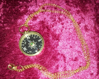 Black Faced Compass Necklace Brass