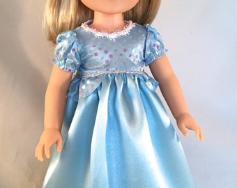 Cinderella Gown with Crown sized to fit Wellie Wishers American Girl Doll  fits 14.5 inch Dolls  Made to Order