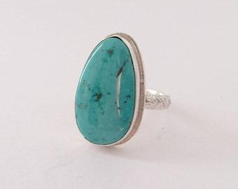 Sterling siver handmade hubei turquiose ring, hallnarked in Edinburgh